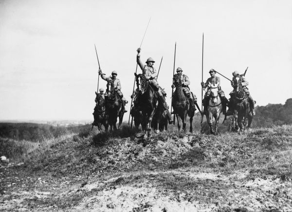 French cavalry on the French front during World War I in 1916