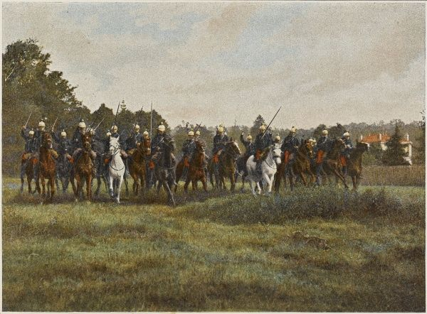 French cavalry commence their charge at the gallop : the first rank use their lances, the second rank use their sabres