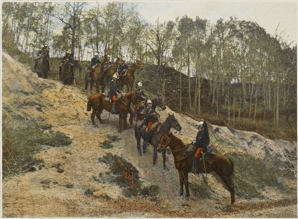 French cavalry patrol in rough country