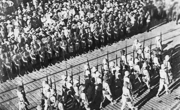 The arrival of French colonial troops in Vladivostok, Russia, as part of the Allied intervention in the Russian Civil War