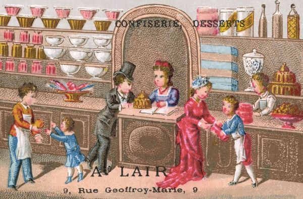 A French CONFISERIE selling cakes, sweets, and other nice things Date: circa 1870