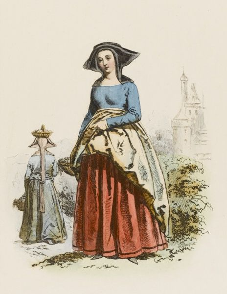 Countrywoman from the environs of Paris, during the reign of Charles VII. Date: 1443