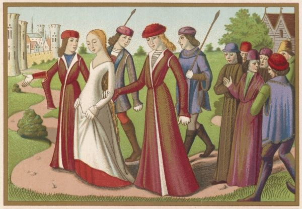 Charles VII & courtiers: long houppelandes (gowns) with contrasting revers (one has hanging sleeves), an ermine trimmed huke & cape. They wear small close-fitting hats