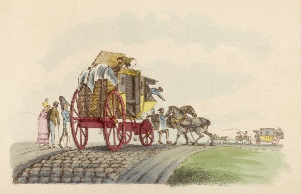 A diligence changing horses ; the coachman is arranging the luggage on the roof