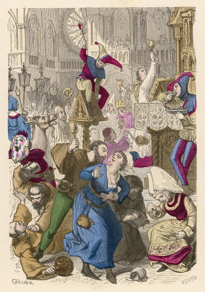 'La Fete des fous et des Diacres' - the FEAST OF FOOLS, on December 26-28, when the mass is burlesqued and all indulge in obscene dancing and singing in the churches
