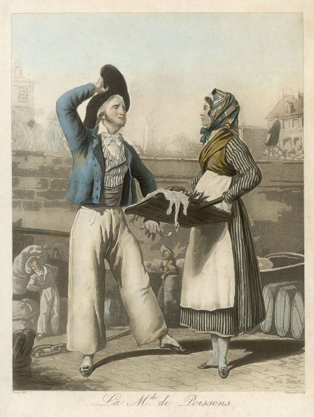 A fish seller chats to a customer wearing a wide-brimed hat and voluminous trousers on the banks of the Seine
