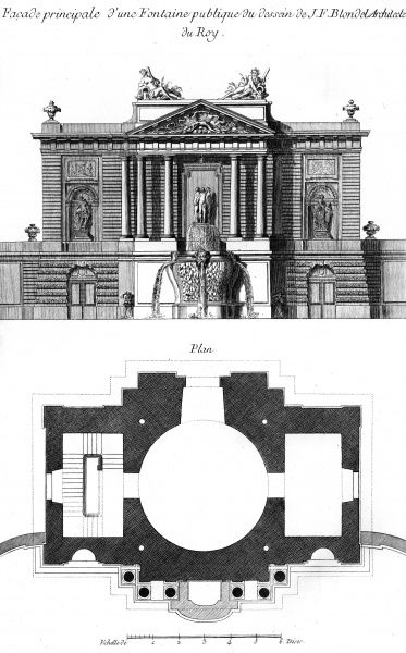 Front view of a fountain designed by J.F. Blondel, architect for Louis XV. Date: Circa 1760