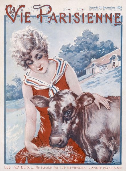 A young French girl in patriotic scarf feeds hay to a cow in a field (presumably French also)