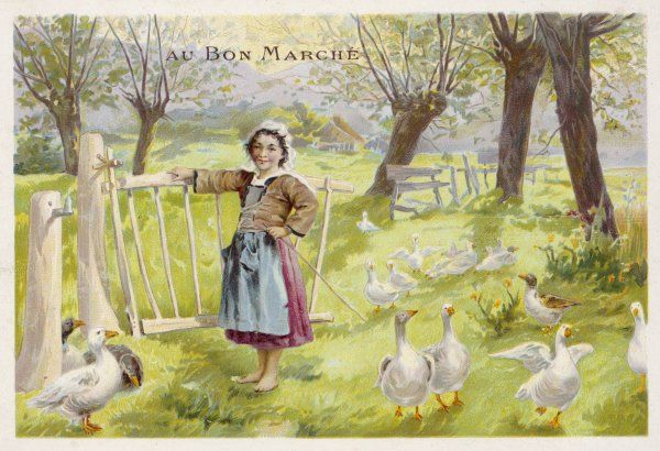 A young girl in an apron watches over her geese