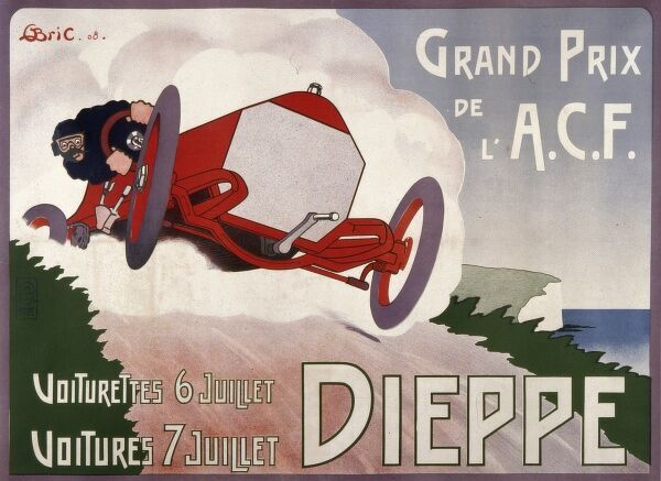 Poster for the 1908 French Grand Prix, which took place at Dieppe on 7 July 1908