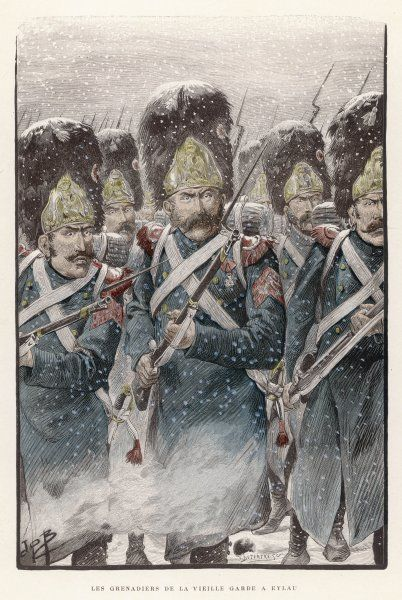 Grenadiers of the Garde Imperiale in action in falling snow at the indecisive battle of Eylau against a combined Russian and Austrian army