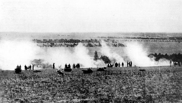 A French heavy battery in the artillery duel in the Argonne
