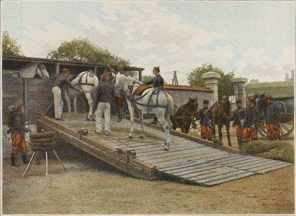 To move cavalry effectively to the front, they are conveyed by road or rail : French load horses onto wagons