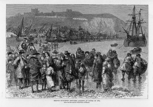 French Huguenots land at Dover, fleeing to Britain when Louis XIV revokes the Edict of Nantes and sets out to stamp out protestantism in France