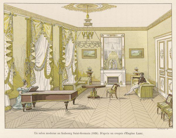A salon in the faubourg Saint- Germain, Paris, decorated in the latest fashion : a gentleman sits upright on a settee while his companion plays the grand piano