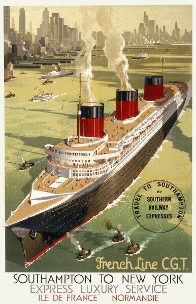 French Line CGT Poster showing the Normandie cruise ship travelling from Southampton to New York, advertising an express luxury service on both the Ile de France and the Normandie
