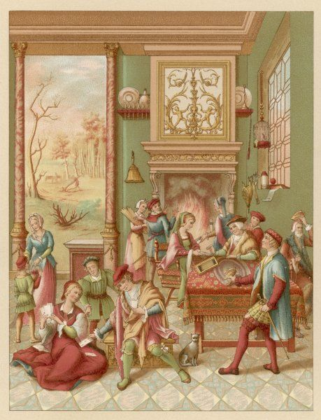 The interior of a 'manoir' - the head of the household arriving home where his family and friends are playing cards, dancing or chatting by the fire