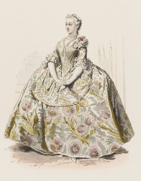 A French marquise at the court of Louis XV, wearing the extremely awkward 'panier' dress