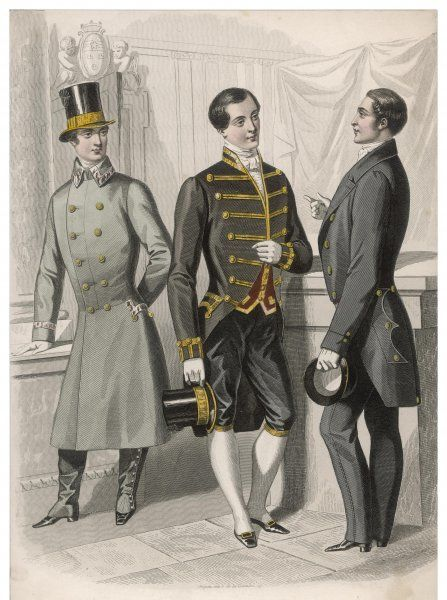 French menservants in outdoor and indoor livery: top hat with cockade, braided cutaway coat with stand collar, spatterdashes, coat with 'M- cut' collar, breeches
