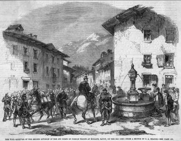 The French expeditionary force reaches Modane and pause for refreshment from the public fountain