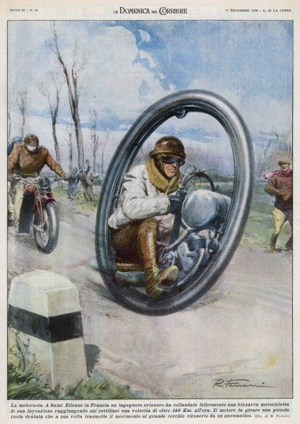 At Saint-Etienne, a French inventor drives his monocycle, sitting inside the wheel, at speeds up to 140 km/h