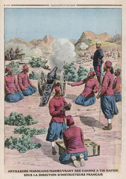The French bring civilisation to Morocco - by teaching the natives to use quick-firing guns