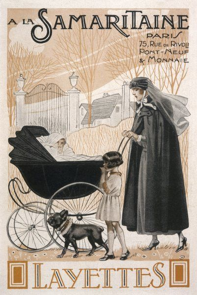 A French nanny pushes a pram containing a small child, while a young girl and a French bulldog walk beside her