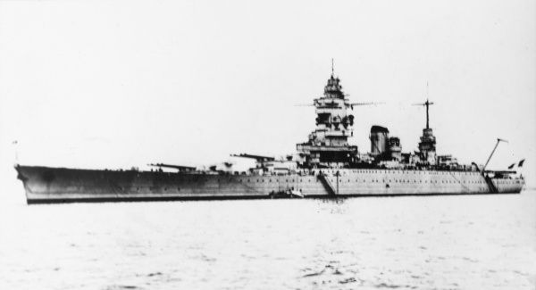 The warship 'Dunkerque' of the French navy during World War II