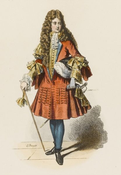 A French courtier of the court of Louis XIV, dressed in the height of fashion - long wig, sword and cane, feathered hat, lace everywhere. How long did it take him to get dressed ?
