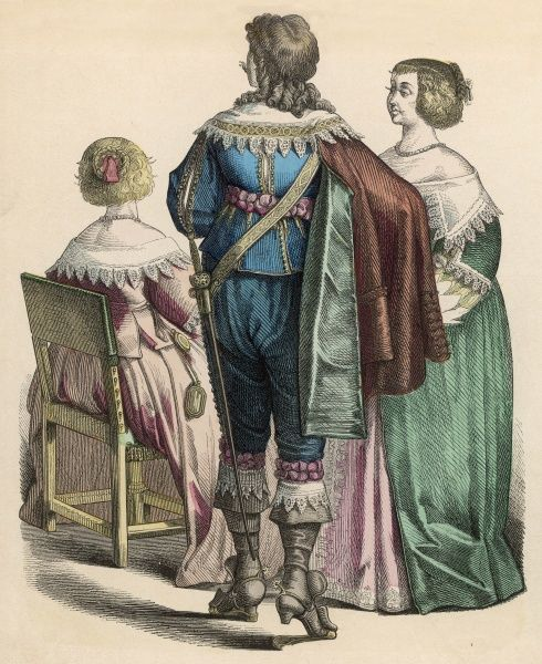 A group of French nobles ; the man wears a cape, sword and spurred boots, with rosettes at his waist and knees ; all support the lacemaking industry generously