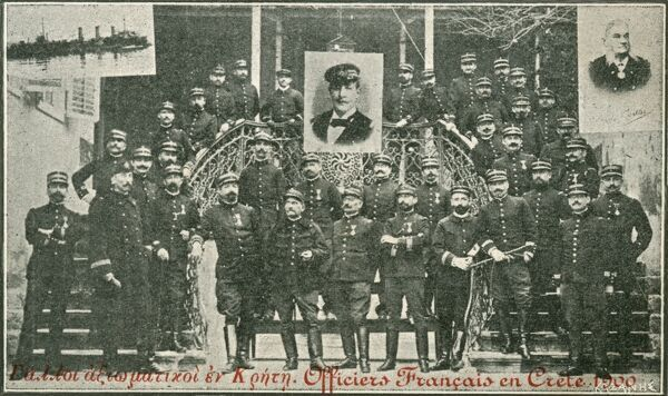 French Officers on Crete. Although much of modern Greece had been independent since the 1820s, Crete remained in Ottoman hands. A Greek force arrived to annex the island in 1897 and the Great Powers acted, occupying the island and dividing it into British