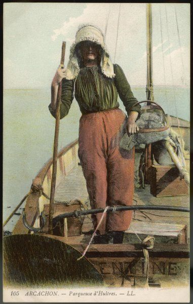 A parqueuse d'huitres - oyster gatherer - of Arcachon in south- west France