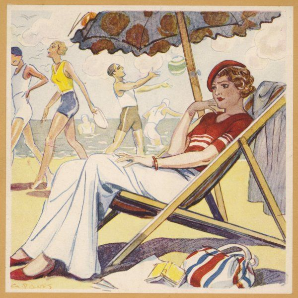 A disgruntled girl sitting on a deckchair, under an parasol, on a French beach