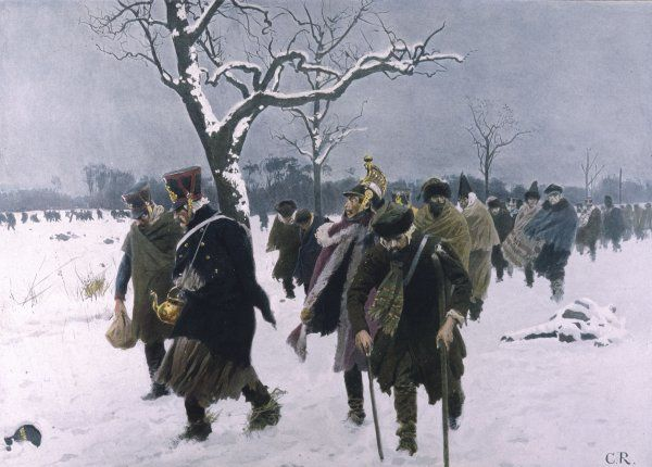 The French army retreats from Moscow