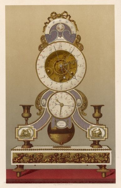 Clock marking both the old and the Revolutionary hours (ten a day) and the calendar