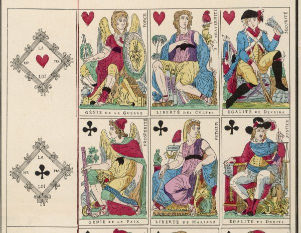 Playing cards from the hearts and clubs suits from the French Revolution by Jaume and DuCourc