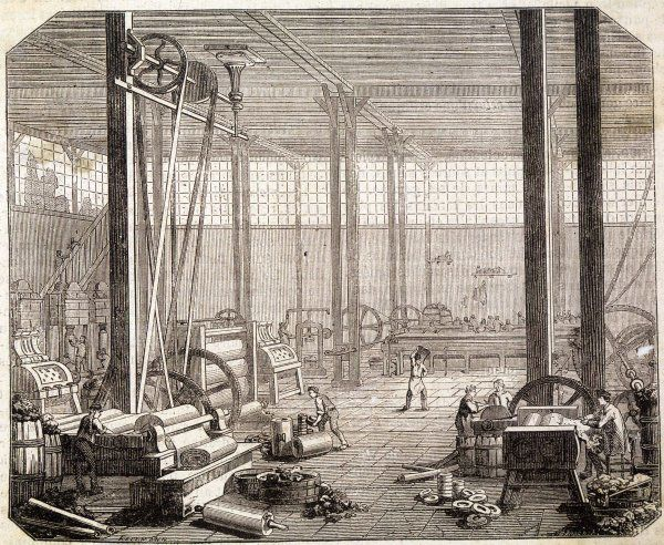 Interior of a French rubber factory