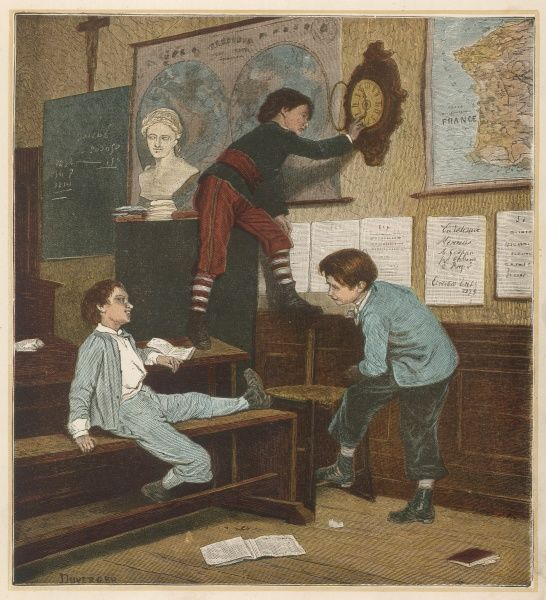 Three French schoolboys in the classroom: one of them is moving the clock forward in the hope that they will be able to go home early