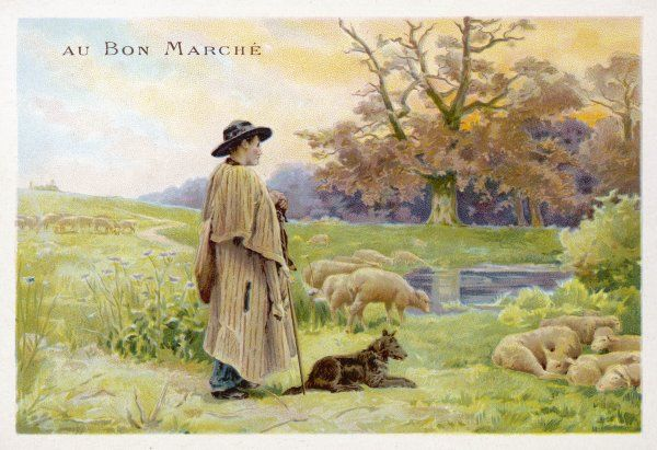 A shepherd in his traditional cloak with his dog and sheep