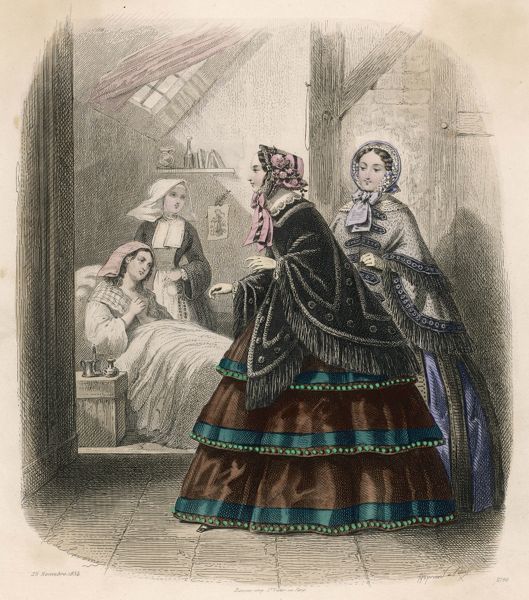 Two fashionably dressed ladies call on a sick woman in an attic, who is already being cared for by a sister of charity