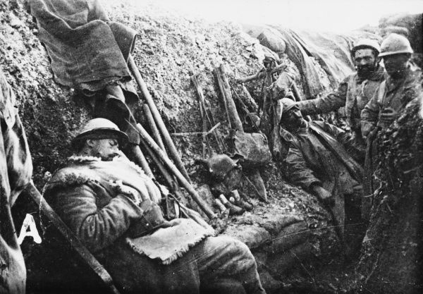 French soldiers in a trench in Artois on the French front during World War I in 1916