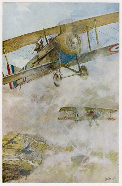 French SPAD aircraft on patrol