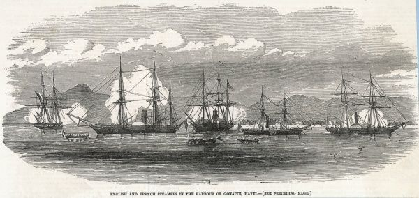 English and French fleets in the harbour of Gonaive, Haiti