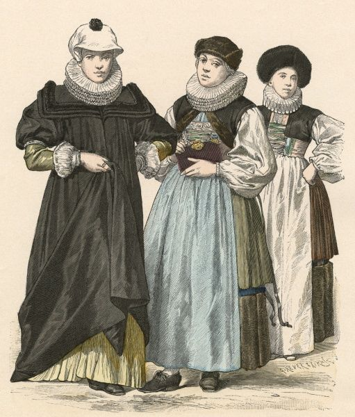 Women of Strasbourg & a woman from Basle, Switzerland. Largely regional or National costumes but with ruffs (by this date were no longer fashionable). Date: 1644