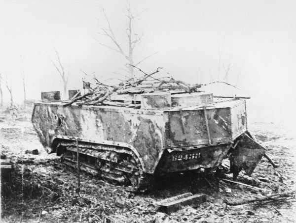French tank on the Chemin des Dames near Vaudesson in France during World War I
