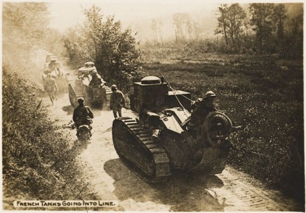 French tanks moving in a line during World War I in France