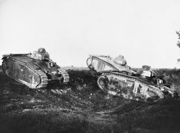 French tanks on manoeuvers during the Phoney War in the 7 months following the German invasions of Poland in September 1939 during World War II