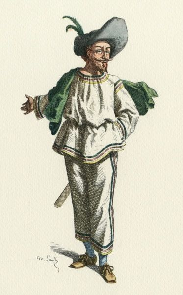 'Tabarin' A character from 'Farces Tabariniques'. Date: early 17th century