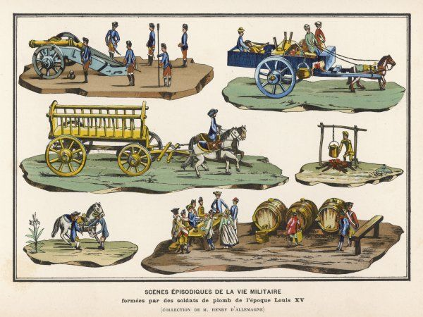 French lead toy soldiers with horses, carts, artillery and other equipment