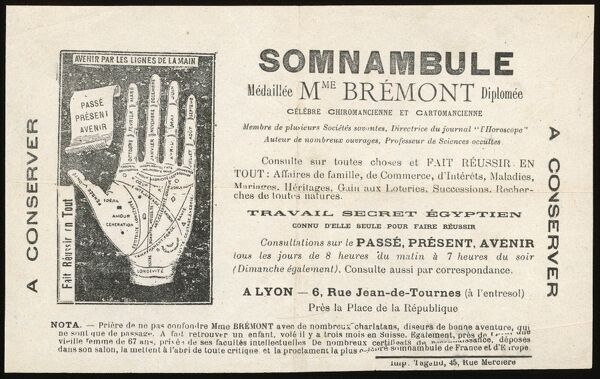 The 'hand-out' of a French fortune-teller of Lyon - clairvoyant, palm-reader, card-teller and 'Secret Egyptian Work&#39